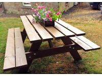 Hand Made Quality Garen Picnic Table only £185 including delivery and assembly in your Garden