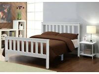 Small Double Size White Wooden Bed Frame Solid Pine for Adults, Kids, Teenagers