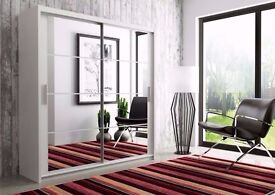 ❤❤FREE LONDON DELIVERY❤❤ 70% SALE❤❤ BERLIN FULLY MIRRORED 2 DOOR SLIDING WARDROBE IN BLACK AND WHITE