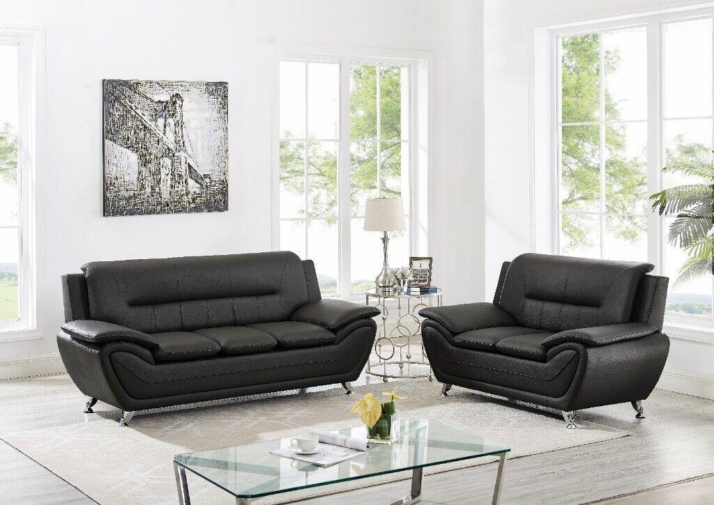 Sofa Set 3+2, Faux Leather Modern Design SofaSet In Black & Grey | In Romford, London | Gumtree