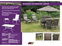 Garden Furniture Set - 6 adjustable chairs-2 footstools-small table-large table-parasole