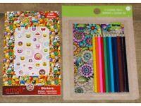 12 colouring pencils, sharpener & colouring pad with emoji sticker book