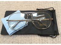 Silver Aviator Pilot Clear Lens Sunglasses (Not Kanye, Boost, Supreme, BAPE, Off White, Presto, Y3)