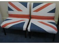 Two Reupholstered Union Jack Chairs