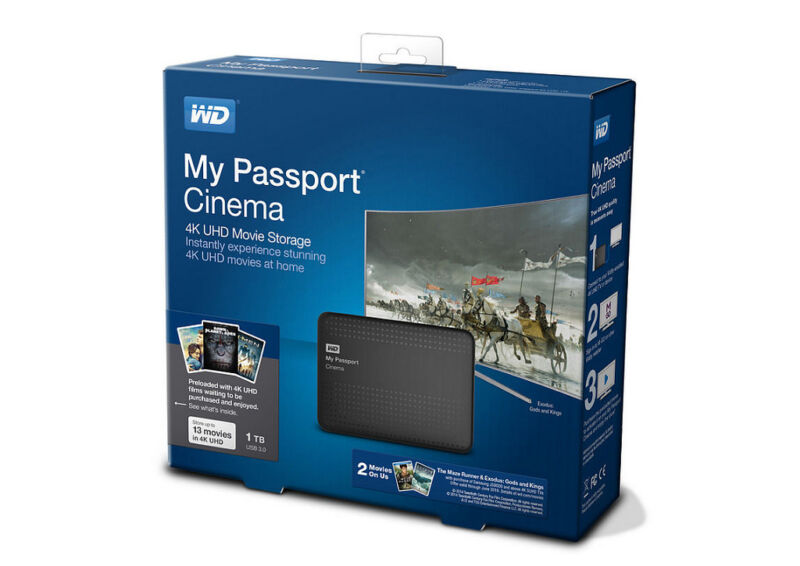 WD My Passport Cinema 1TB External USB 3.0/2.0 Portable Hard Drive Classic Black WDBZKS0010BBK-NESN