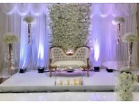 Events Decorations. Throne sofa, centrepieces, chaiir/table covers, LED Dancefloor, LOVE Letters