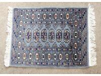 "100% Wool Pile Rug Grey/Blue Rug with fringe - Length 36"" (91cm) Width 24"" (61cm)"