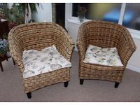 Pair of beautiful rattan/wicker conservatory chairs in excellent condition. £70 the pair.