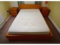 double bed frame and bedside drawers