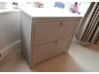 Chest of drawers two large one hidden painted grey beige