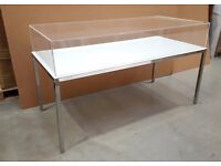 Display table, with perspex top and white glass, chrome legs