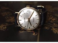 vintage 9k 9ct solid gold Accurist mens watch (date window)