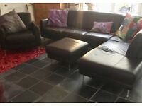 Large soft leather corner sofa , chair and stool -REDUCED!