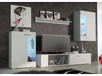 New MODERN WALL UNIT #FOOX MINI ~ , HIGH QUALITY FLATPACK TV UNIT 2X CABINET WARDROBE, HANGING SHELF