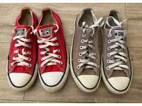 2 x pairs of converse all star trainers low top size UK 6