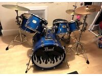 DRUM KIT- 6 piece Pearl ELX in blue mist