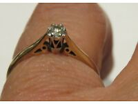 9CT. GOLD REAL D IAMOND SOLITAIRE ENGAGMENT/VALENTINES RING, SIZE M1/2 HALLMARKED