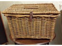 Fabulous large genuine vintage wicker picnic hamper on feet