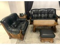 3 SEAT AND 2 SEAT SOFA WITH FOOTREST FOR SALE, REAL OAK AND LEATHER!!!