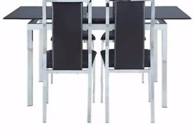 Black and chrome dining table and 6 chairs