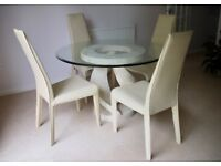Dining chairs. 4 cream coloured leather chairs. Very strong, very comfortable. As new.
