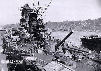 WWII B&W Photo IJN Yamato at Dock 1941  WW2 World War Two Imperial Japan / 7044