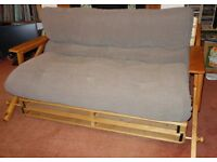 Double futon sofa bed & couch on hand-made solid pine base from Leeds Futon Company
