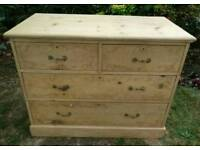 Roomy antique solid pine chest of drawers. Lovely condition. Antique, craftsman made