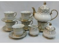 NEW 15PC GOLD CHINA TEA / COFFEE SET WITH DESIGNER PRINT & DISPLAY STAND