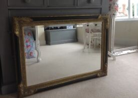 Antique French Gold and Black Ornate Mirror