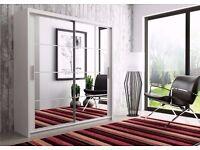 BLACK WALNUT AND WHITE FINISH=== Brand New Berlin Full Mirror 2 Door Sliding Wardrobe in Black&White