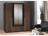 Skate 4 Door Walnut - GERMAN WARDROBE - FREE LOCAL DELIVERY AND FITTING