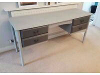 Light and Dark Grey Desk or Dressing Table - 4 Drawers - Solid & Heavy Hexagonal Legs Home Furniture