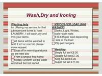 Washing drying and ironing