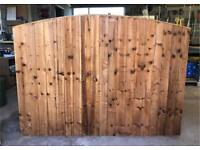 🐌 Bow Top Pressure Treated High Quality Brown Wooden Garden Fence Panels