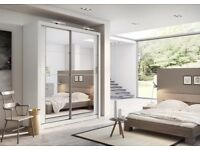 NEW Free standing 6ft wide & 7ft+ tall mirror Sliding door wardrobe Only £399 NOT SLIDEROBE