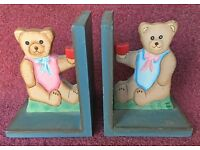 Childrens' vintage unisex wooden painted book ends