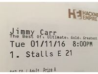2 x Jimmy Carr Tickets (London) FACE VALUE