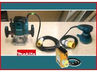 MAKITA Router and Orbital Sander 110V + Compact Transformer | Used. Very good condition.