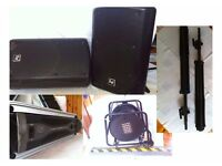 PA System (EV ZX5 speakers, QSC amp, 50m multicore, heavy duty stands)