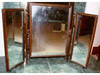Dark Wood Dressing Table Mirror Triple Folding