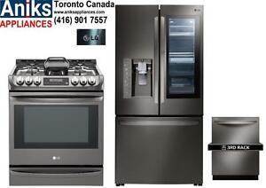 LG LFXC24796D 36in Counter Depth 24 cu. ft. InstaView Door-in-Door Refrigerator, LSG5513BD 30in Slide-In Gas Range and L