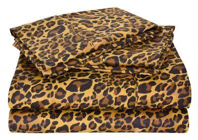 Leopard Print Color Egyptian Cotton Sheet Set 4PCs 1000 Thread Count USA Size ()