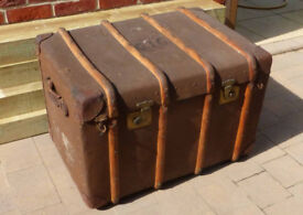 Vintage possibly antique large wood strapped trunk