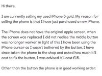iPhone 6 gold - locked to EE - 16gb.