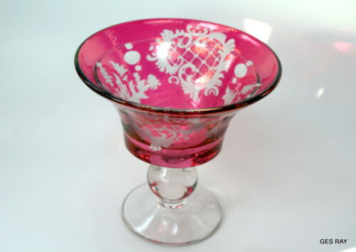 Egermann Bohemian Czech Ruby Red Cut To Clear Cased Glass Bowl Footed *