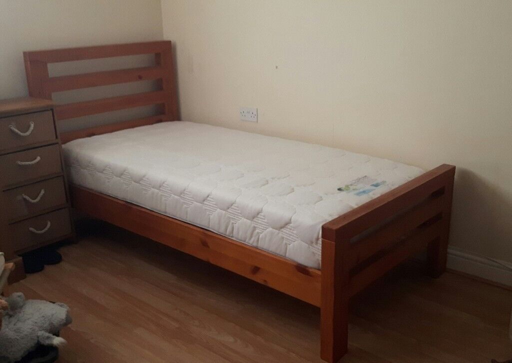 Large Single Solid Wooden Bed And A Memory Foam Mattress All For