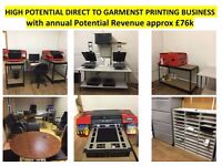 DTG Garments T Shirts Printing High Potential Business for Sale £26000