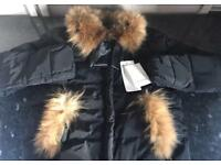 Brand new Down feathers filled coat/jacket with real racoon fur collar UK 8/10