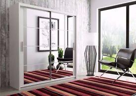 ❤◄❤Same Day Express Delivery❤►❤ New German Full Mirror 2 Door Sliding Wardrobe w 12 Shelves, 2 Rails